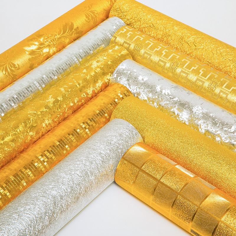 Beibehang haute qualité feuille d'or pur or jaune argent papier peint ktv hôtel ingénierie local or salon plafond papier peint
