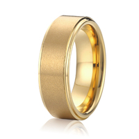 Handmade High Quality 18k Gold Plated Titanium Wedding Bands Promise Rings For Men And Women Anel