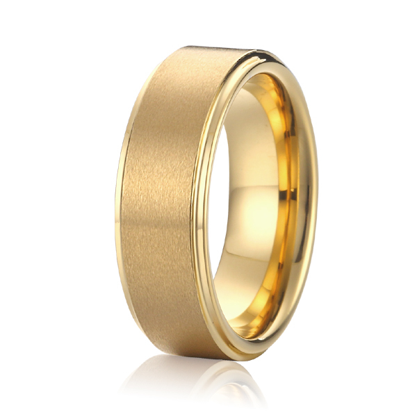 handmade high quality gold colour titanium steel wedding bands