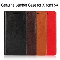 Lnobern Genuine Leather Case For Xiaomi Mi A1 High Quality Cowhide Leather Wallet Case For Xiaomi