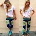 Novo Azul Das Senhoras das Mulheres Da Moda Floral Impressão Harém Calças Mulheres Praia Roupas Soltas Calças Cintura Elástica Casuais Calças de Praia