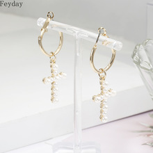 2019 New Fashion Statement Women Cross Pearl Drop Earrings Simulated Pearls Dangle Elegant Gift Jewelry