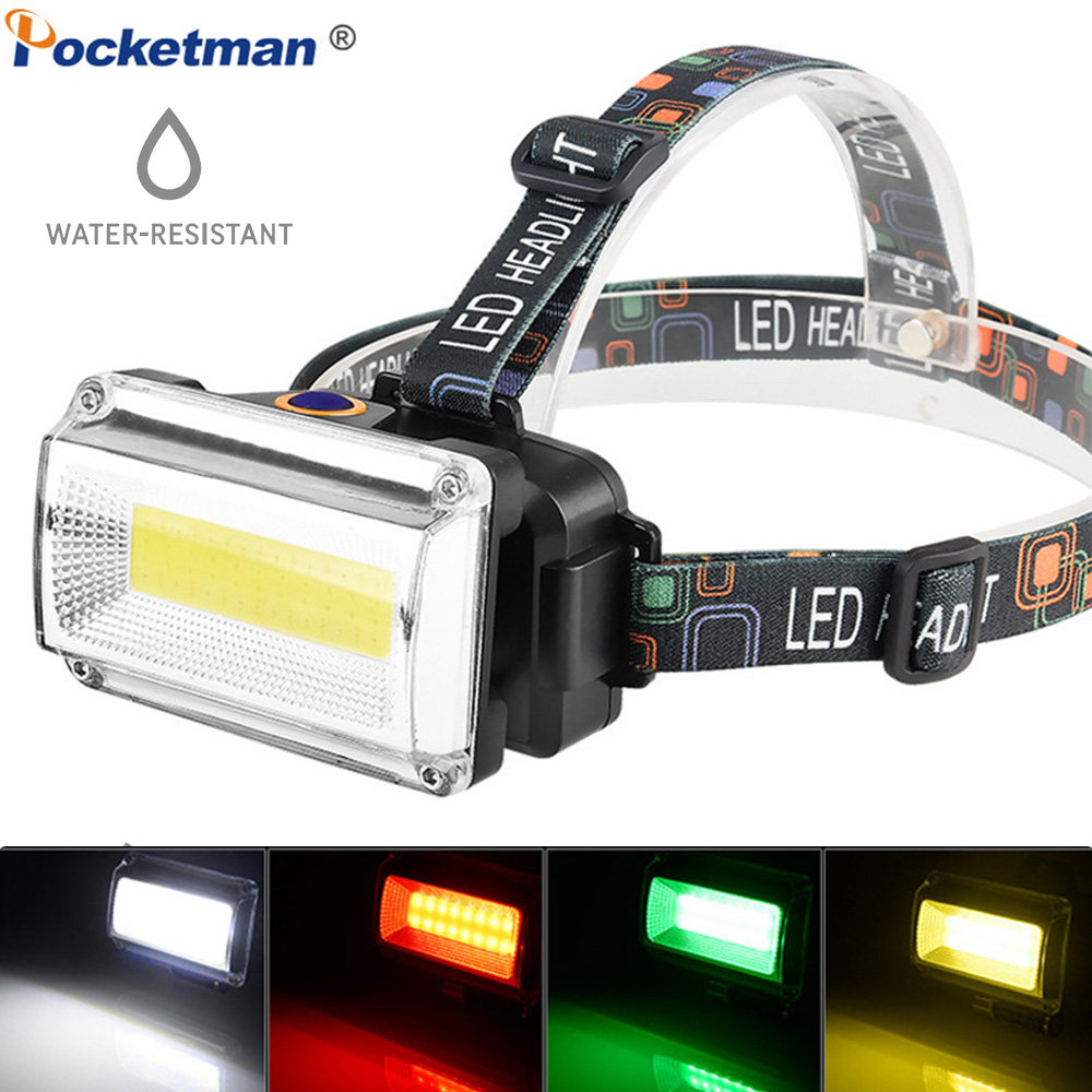 Brightest COB LED Headlight Waterproof Headlamp Work Head Flashlight Head Torch With Rechargeable 18650 Battery DC Charger USB