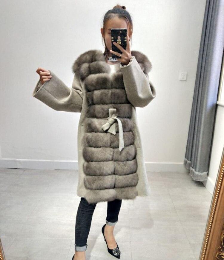 Nouveau manteau de laine manteau de fourrure de renard longue mince ceinture manteau