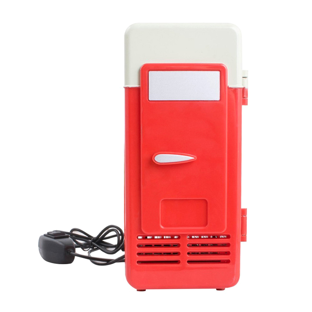 Desktop Mini Fridge USB Gadget Beverage Cans Cooler Warmer Refrigerator With Internal LED Light Car Use Mini Fridge 5
