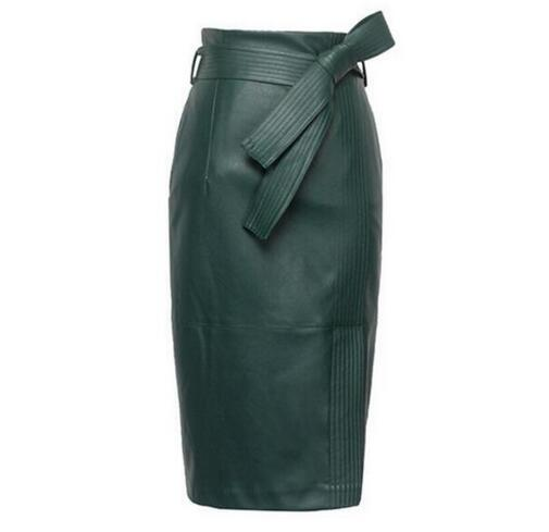 Autumn Winter Sexy High Waist Leather Skirts High Quality Leather Skirt Women Plus Size 4XL Womens Belted Fashion Pencil Skirt