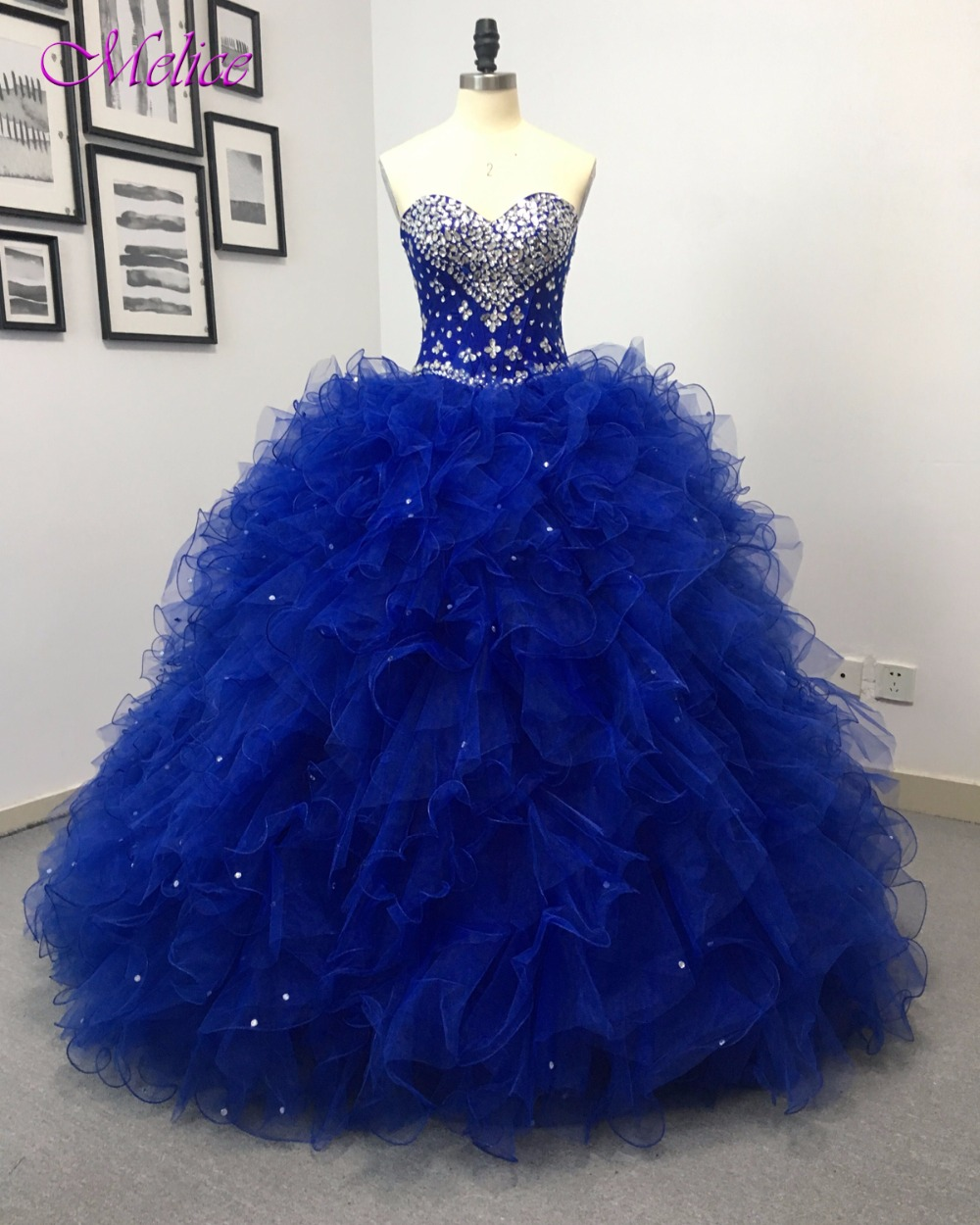 Fmogl Charming Strapless Royal Blue Princess Quinceanera ...