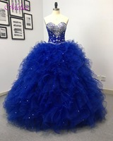 Fmogl Charming Strapless Royal Blue Princess Quinceanera Dresses 2018 Beaded Crystal Vestido Lace Up Debutante Dress For 15 anos