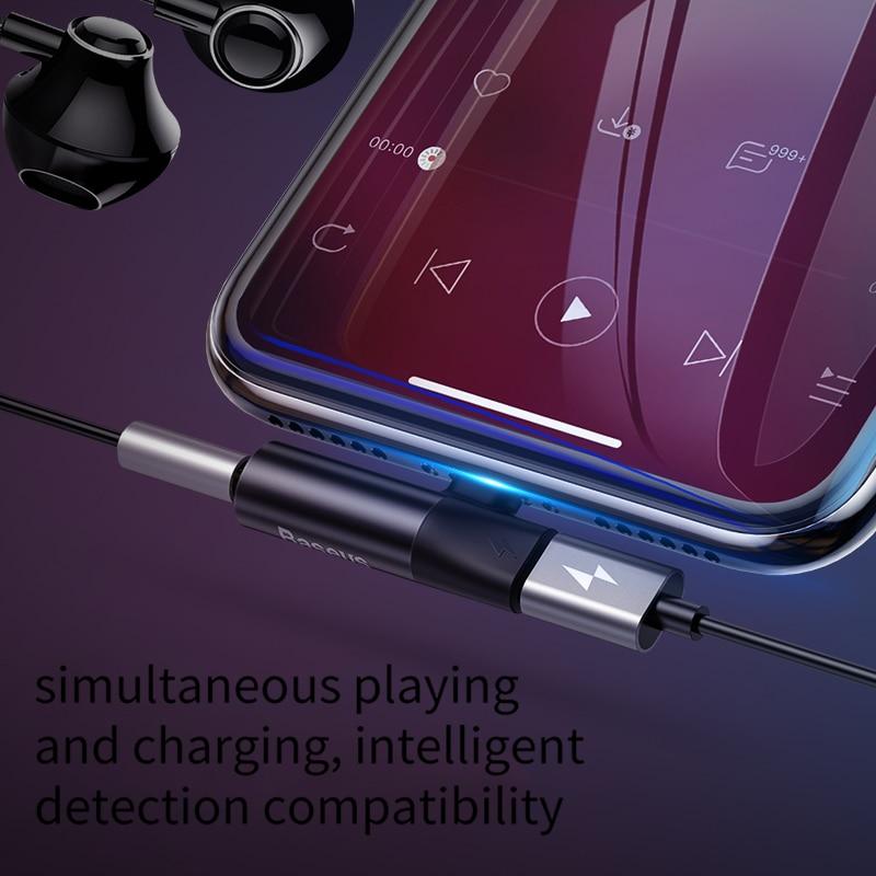 Baseus Auido Adapter For IPhone XS Max XR X 8 7 Plus To 3.5mm Jack Headphone Earphone Charging Converter Splitter OTG Adapter