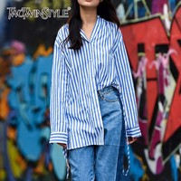 TWOTWINSTYLE Striped Blouse For Women Lace Up V Neck Long Sleeve Split Casual Shirt 2018 Spring