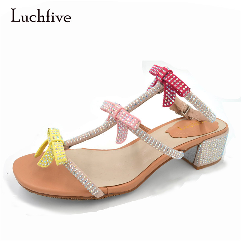 1309ace489f Luchfive Charming Fairy Shinny Crystal studded Flats Sandals women  Butterfly Knot flip flops Drilled dress summer party Shoes -in Middle Heels  from Shoes on ...