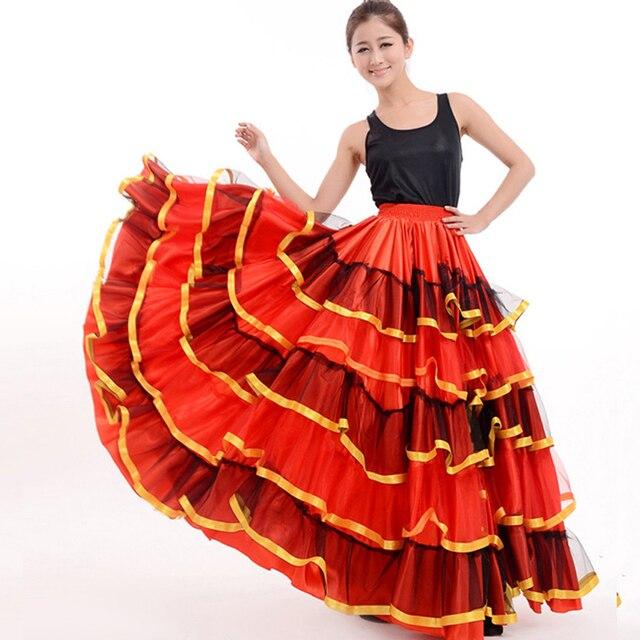Юбка фламенко дамы испанского фламенко нарядное платье юбка для танцев сеньорита Румба Сальса костюм/фламенко платье/юбка танец живота