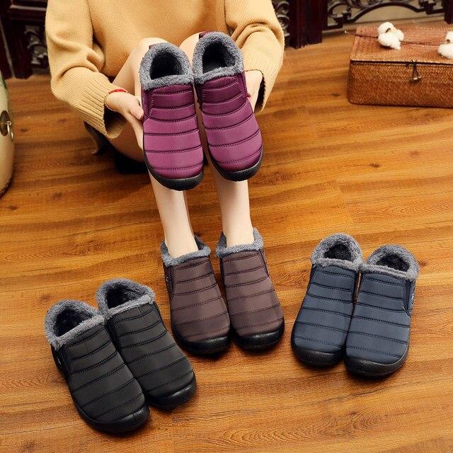 KHTAA/водонепроницаемые женские зимние ботильоны унисекс; женские зимние ботинки на нескользящей подошве; теплая плюшевая повседневная обувь из хлопка для пары; большие размеры