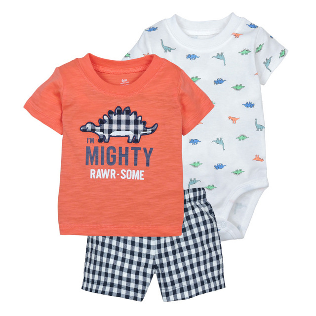 Cotton short sleeve hooded shirt pant rompers for newborn