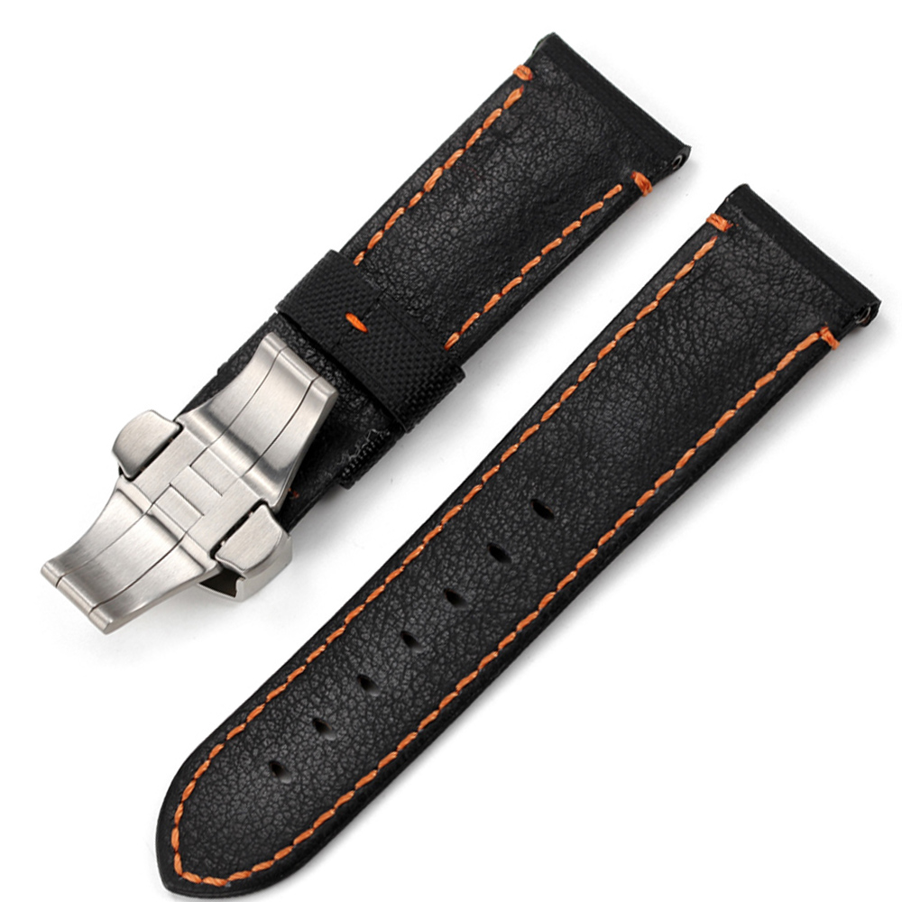 Image 5 - CHIMAERA 24mm Farbic+Leather Watchband For PAM Balck Vintage New fashion Watch Band Deployment buckle Watch Strap For Panerai-in Watchbands from Watches