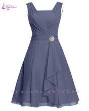 Waulizane 우아한 쉬폰 a 라인 댄스 파티 드레스 지퍼 민소매 공식 드레스 16 색상 사용 가능한 세관 만든 일반 슬리브