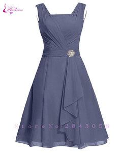 Image 1 - Waulizane 우아한 쉬폰 a 라인 댄스 파티 드레스 지퍼 민소매 공식 드레스 16 색상 사용 가능한 세관 만든 일반 슬리브