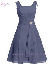 Waulizane אלגנטי שיפון אונליין שמלות נשף רוכסן ללא שרוולים פורמליות שמלות 16 צבעים זמין מכס עשה שרוול רגיל