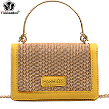Fashion Women Summer Shoulders Bag Small Rattan Handmade Woven Leather Straw Handbags Beach Bags for 2019 Borsa Mare