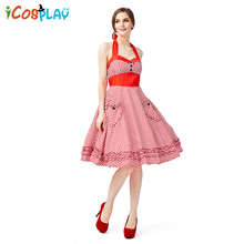 2019 new Red plaid beer suit Four-color large swing skirt popular pastoral wind farm Sling dress Halloween summer