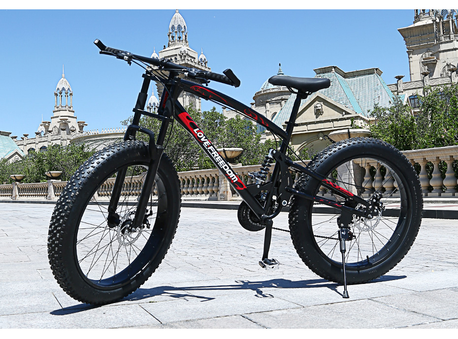 HTB1bpPHemzqK1RjSZPcq6zTepXaa Love Freedom High Quality Bicycle 21/24 Speed Mountain Bike 26 Inch 4.0 Fat Tire Snow Bike Double disc Shock Absorbing Bicycle