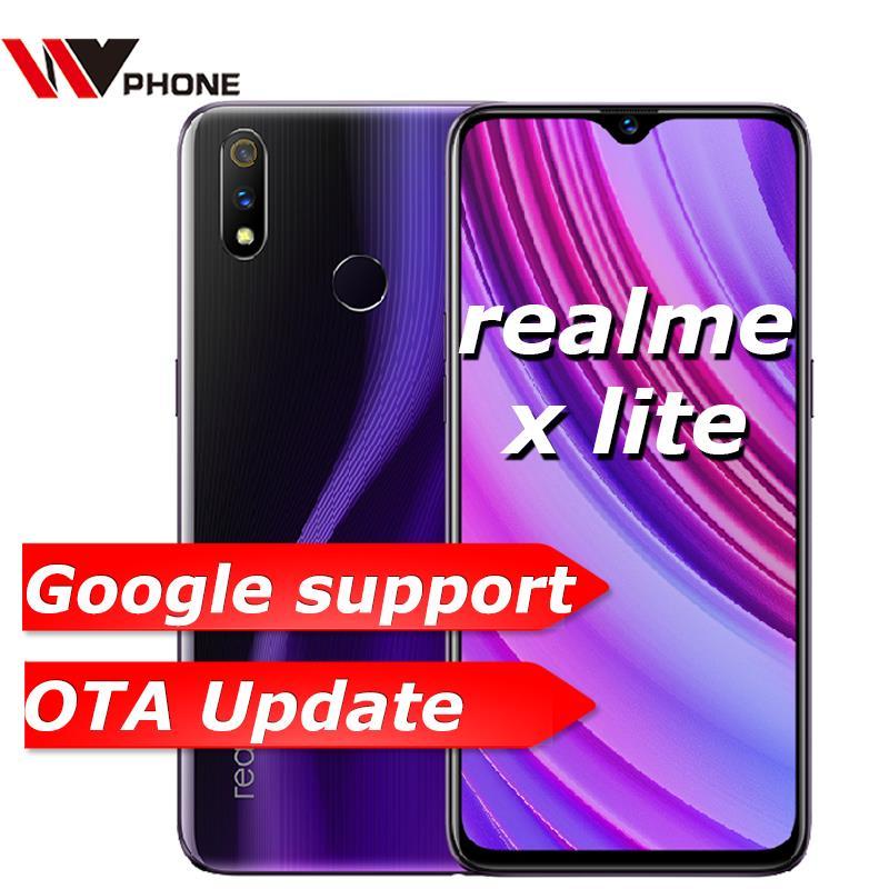 Original oppo realme x lite 4g lte 4 gb 64 gb snapdragon 710 octa núcleo 6.3 polegada tela 4045 mah câmera traseira dupla celular