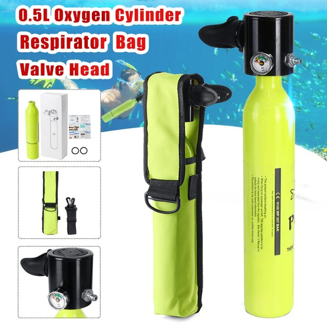 Diving Equipment 0.5L Mini Scuba Oxygen Air Tanks Cylinder Head Valve Mouthpiece Snorkeling Underwater Breathing Device