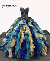 Embroidery Royal Blue Quinceanera Dresses Long Prom Party Beaded Ball Gown Bridal Dresses vestidos de 15 anos for 15 Years