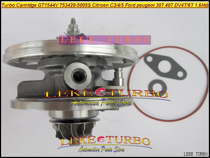 TURBO Cartridge CHRA GT1544V 750030-0002 753420 753420-5005S Turbocharger For FORD For CITROEN C3 C4 C5 307 407 DV4T DV6T 1.6L turbo cartridge chra gt1544v 753420 750030 740821 753420 0002 753420 0004 740821 0002 for citroen c3 c4 c5 307 407 v50 dv4t 1 6l