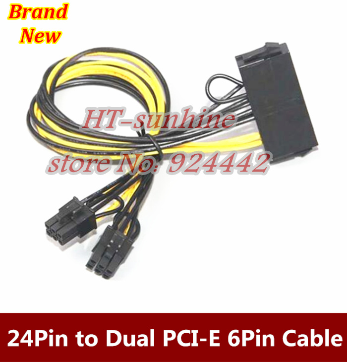 new ATX  24Pin to Dual PCI-E 6Pin Power Cable with start for video card 30cm 18AWG 20cm 60cm pci e gpu 8pin male to dual 8pin 2 6 male video card extension power cable 18awg y type ribbon cable