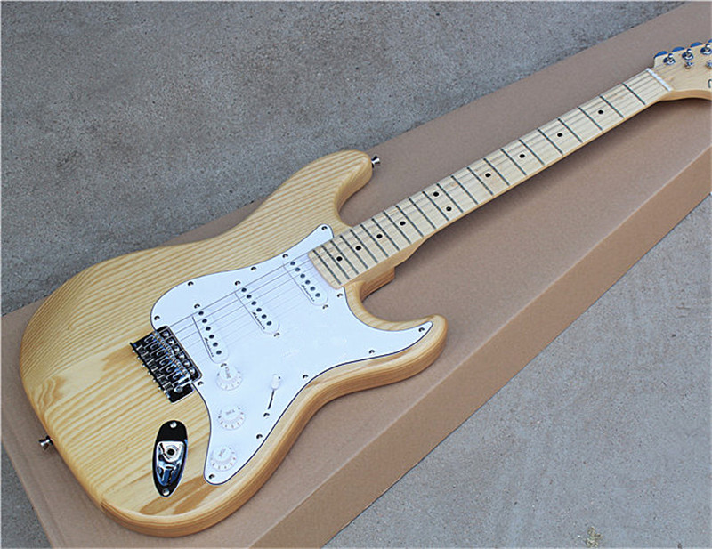 natural wood color electric guitar with white pickguard ash body 3s pickups materials of. Black Bedroom Furniture Sets. Home Design Ideas