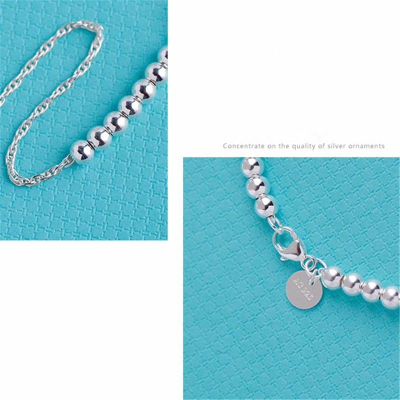 Hot selling Fashion Heart red enamel charm bead bracelets for women 925 silver real Fine Jewelry in Bracelets Bangles from Jewelry Accessories