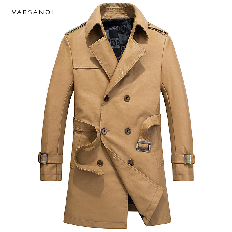 Varsanol Long Trench Mens Jackets Coats Windbreaker Full Sleeve Autumn Turn-Down Collar Khaki Waistband Button Brand Clothing