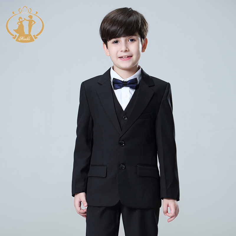 5 Pcs/Set Boys Suits for Weddings Kids Prom Suits Black Wedding Suits Kids Blazers Boys Clothing Set Boy Formal Classic Costume
