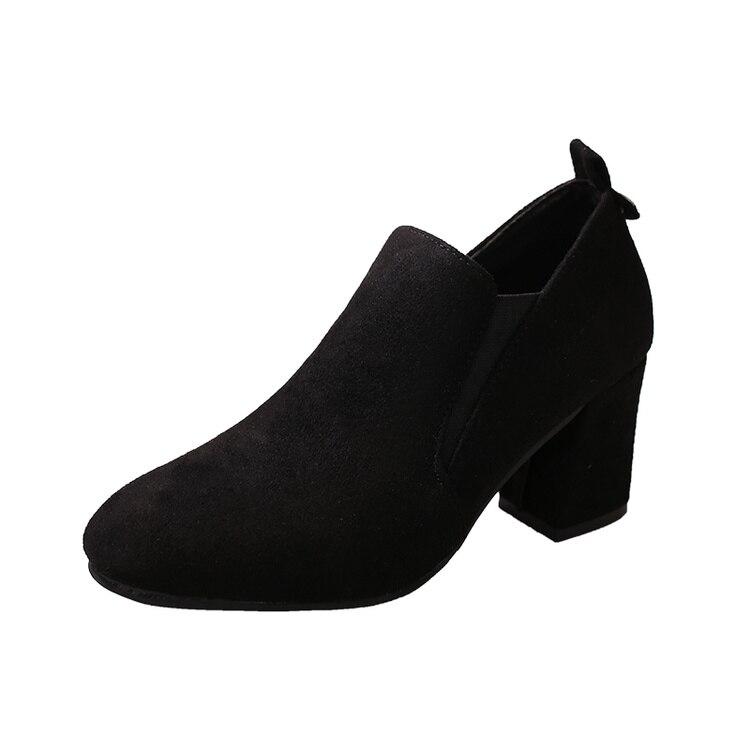 Señoras Chunky negro Martin Ocasionales Otoño Tacón On Primavera Gamuza Zapatos Mujeres 2017 Slip Beige De Cortas Botas Alto Botines Tacones fBwqFC1