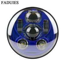 "FAUDIES Azul 5.75 ""5 3/4 LED Motocicleta Farol Daymaker Para Harley Sportster 1200 Personalizado XL1200C XL1200L 883 XL883 883L"