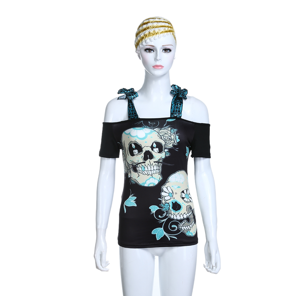 Slash Neck camiseta tirantes verano cráneo femenino 3D Impresión Digital suelta Tops mujeres Casual correa sin tirantes camiseta TNN #