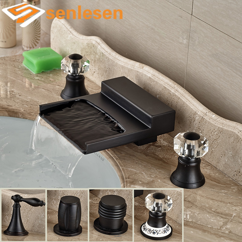 Oil Rubbed Bronze Deck Mounted Bathroom Lavatory Sink Faucet Waterfall Spout with Hot Cold Water Taps oil rubbed bronze deck mounted waterfall hot and cold basin faucet dual handles