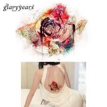 1pc DIY Body Art Temporary Tattoo KM-084 Colorful Drawing Retro Rose Flower Decal Waterproof Tattoo Sticker For Women Makeup