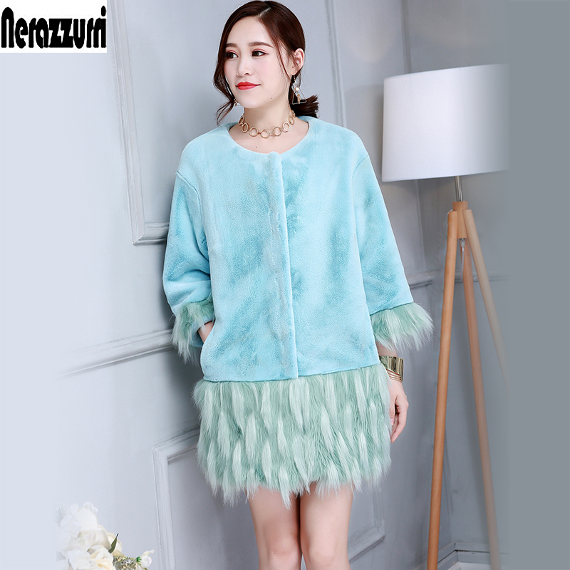 Nerazzurri Female Winter Fake Fur Jacket Women Blue Fluffy Faux Fur Coat Thick Colored Ladies Plus Size Furry Outwear 5xl 6xl