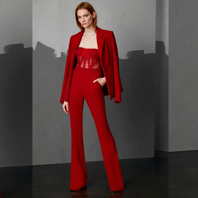 2018 Newest Two Pieces Red Coat Jumpsuit Long Sleeve Sexy Bodycon Fashion  Women Hollow Out Celebrity Wedding Party Verano Club c772356d1918