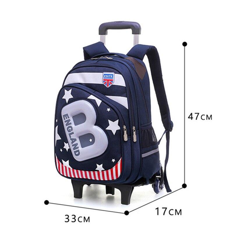 Enfants 2/6 roues amovible Trolley sac à dos sacs à roulettes enfants sac d'école garçons sacs de voyage sacs à dos d'école pour enfants mochila-in Sacs d'école from Baggages et sacs    2