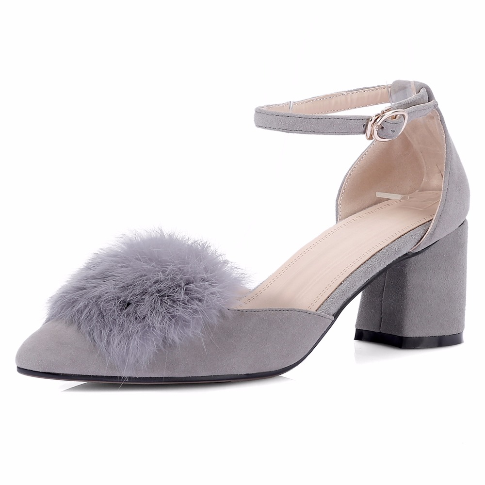 2017 Sexy Thick Heel Pumps Women Kid Suede Pointed Toe Sandals Woman Casual Shoes Summer Fashion Fur Ball High Heel Sandals 2017 new fashion brand spring shoes large size crystal pointed toe kid suede thick heel women pumps party sweet office lady shoe
