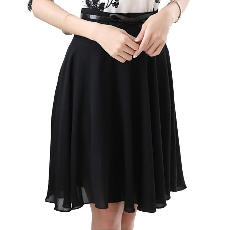 Cool letní dámská módní šifonová sukně plus velikost S-3XL opasek ve stylu A-Line, dívky, černé sukně, dámské oblečení