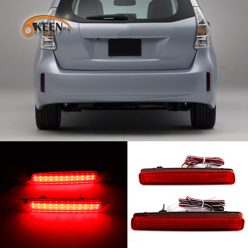 OKEEN 2x LED Rear Bumper Reflector Tail Light For Toyota NOAH VOXY 80 Prius 40 series 2011 2012 2013 2014 2015 Brake Stop LightsOKEEN 2x LED Rear Bumper Reflector Tail Light For Toyota NOAH VOXY 80 Prius 40 series 2011 2012 2013 2014 2015 Brake Stop Lights