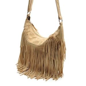 Image 2 - Croyance Vintage Bohemian Fringe Messenger Crossbody Bag Purse Women Tassel Handbag Solid Color