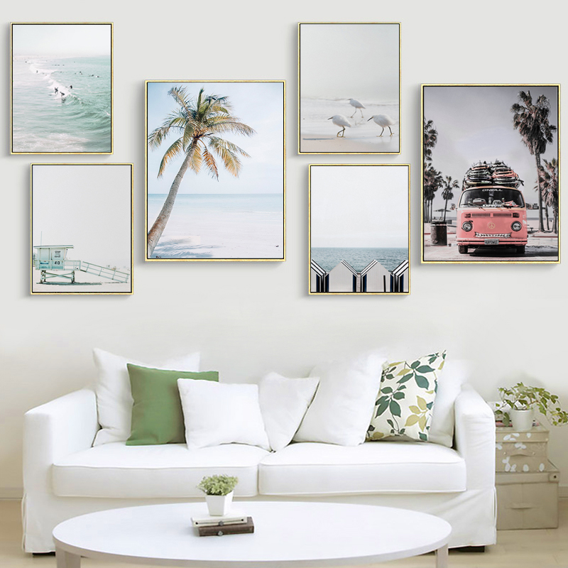 Scandinavian Tropical Decoration Sea Leaf Canvas Poster Landscape Nordic Style Wall Art Print Nature Painting Living Room Decor