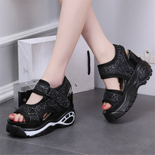 Fish Mouth Muffin Bottom Women's Summer New Sequins Korean Version of The Wild Increase Sneakers Roman Slope with Thick Sandals sandals female summer with wild shoes 2017 new korean version of the slope with high heels thick bottom fish mouth word buckle s