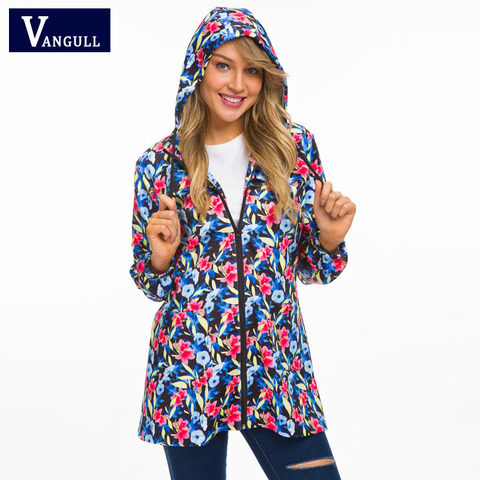 Vangull Women Hooded Jackets 2018 New Autumn Causal windbreaker Long Basic Jackets Coats Zipper Female Print Floral Jackets Lahore