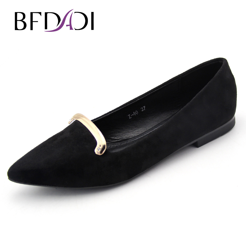 BFDADI Brand 2017  Women Flats ladies shoes Solid color shallow mouth shoes fashion pointed toe shoes Z-40 lin king fashion pearl pointed toe women flats shoes new arrive flock casual ladies shoes comfortable shallow mouth single shoes